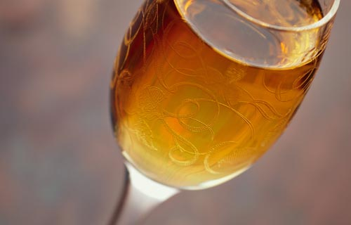 a glass of fortified wine